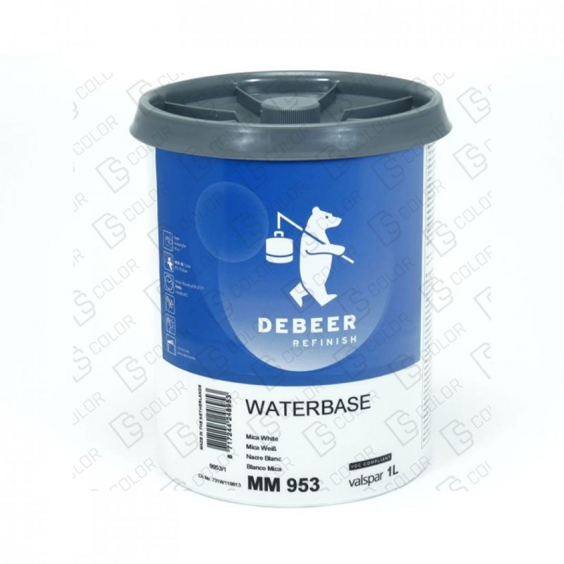DS Color-WATERBASE SERIE 900-DE BEER MM953   1L W.B. Mica White