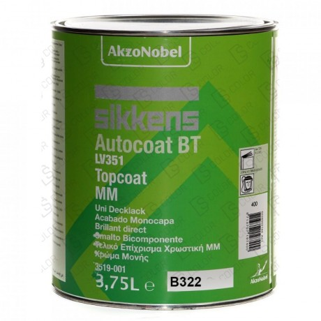 DS Color-AUTOCOAT BT 351-SIKKENS B322 ORANGE-RED TRANS BT 351 TOPCOAT 3,75L