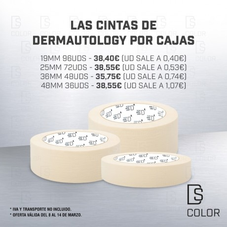 DS Color-DERMAUTOLOGY ENMASCARADO-DERMAUTOLOGY CINTA DE ENMASCARAR 19mm x 45m. //CAJA 96 UDS